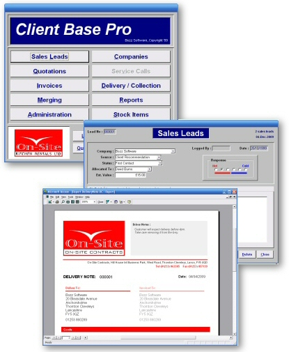 Screenshots - Example screenshots of a bespoke database solution for On-Site Kitchen Rentals Ltd of Thornton Cleveleys, Lancashire